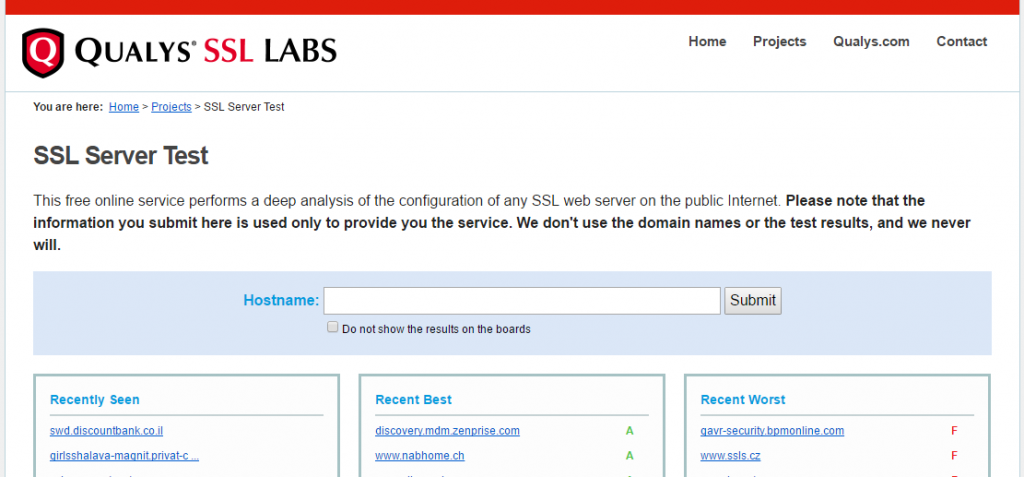 QUALYS SSL LABS SSL Server TestのHostname入力