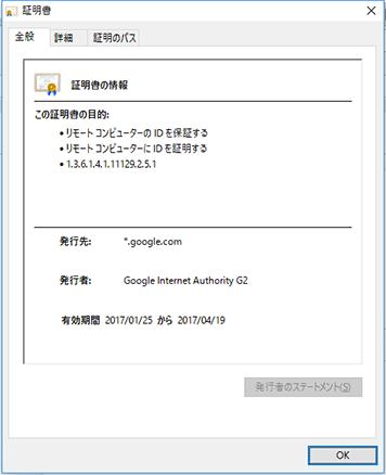 SSL証明書のプロパティ